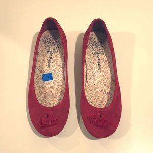 Hush Puppies Red Suede Ballerina Flats 7.5